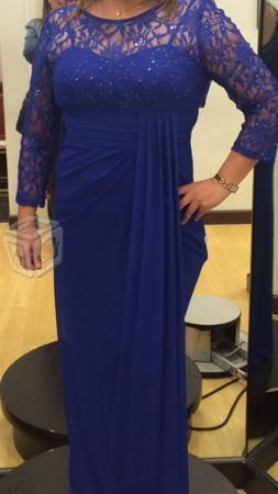 Vestido noche azul rey con encaje