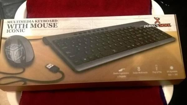Kit teclado / mouse perfect choice, elegante nuevo