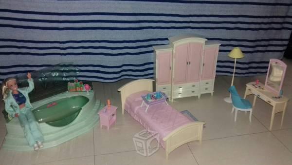 Set de recámara y bañera de barbie